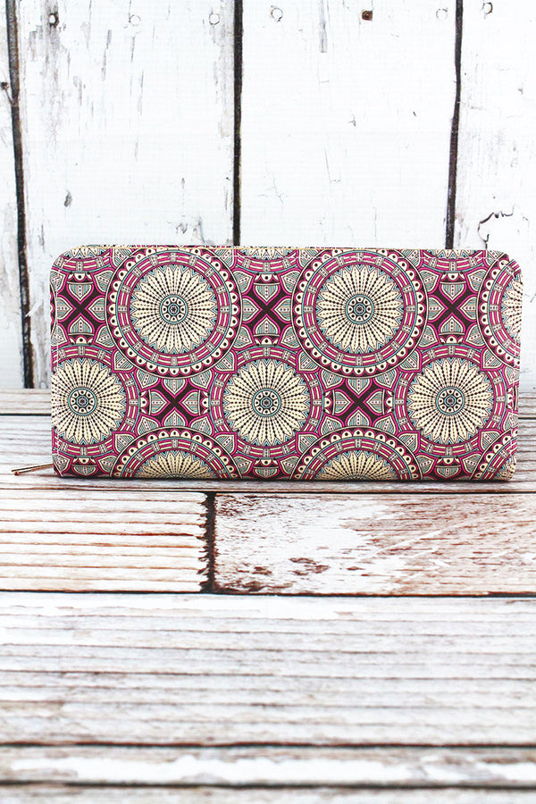 Rose Kaleidoscope Organizer Clutch Wallet