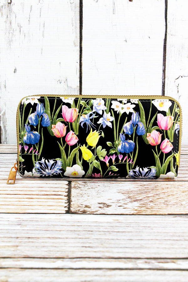 Spring Meadow Black Organizer Clutch Wallet