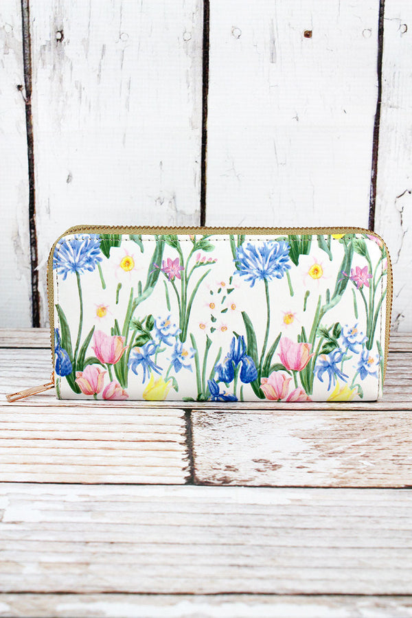 Spring Meadow White Organizer Clutch Wallet