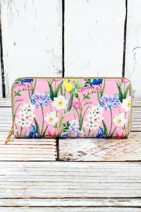 Spring Meadow Blush Organizer Clutch Wallet
