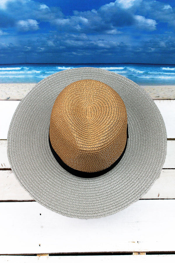 Catch Some Rays Two-Tone Panama Hat, Taupe