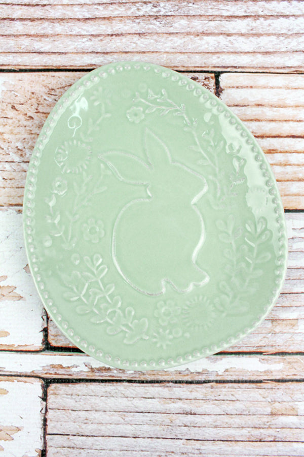 Light Blue Embossed Floral Bunny Plate, 8.5""