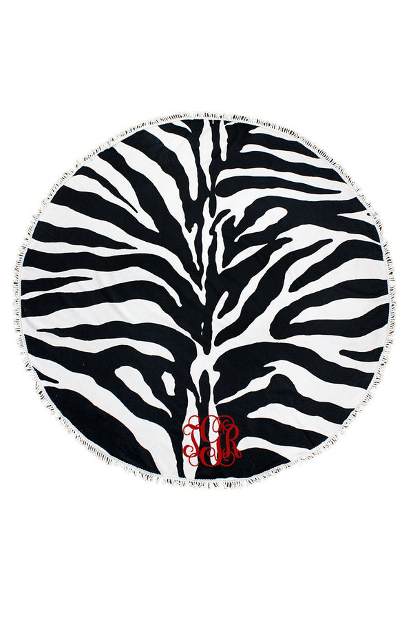 Call Of The Wild Zebra Round Beach Towel