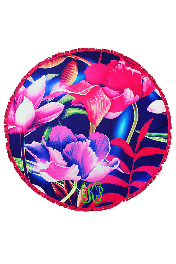 Summer Blooms Round Beach Towel