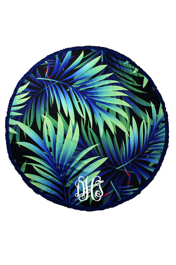Tropical Palms Round Beach Towel