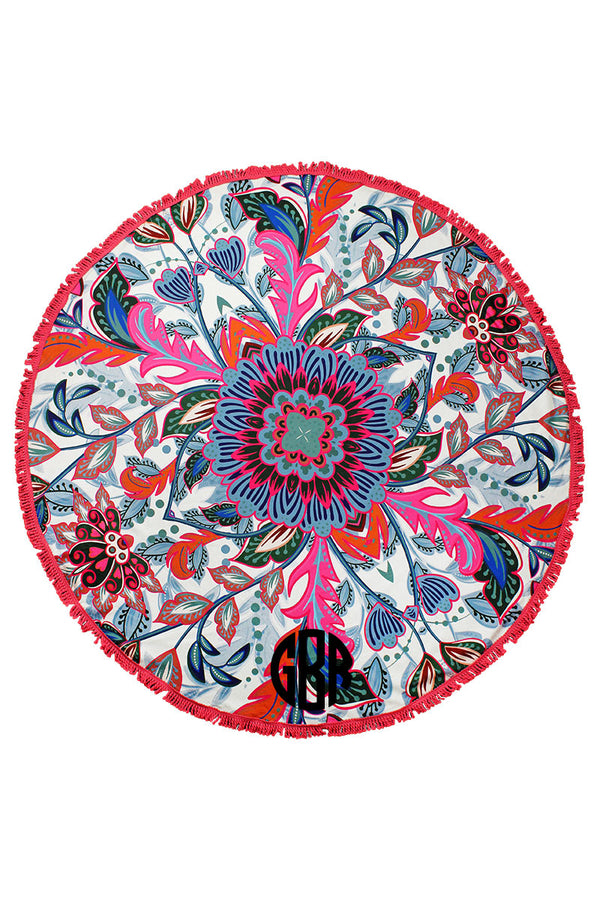 Bloom Into Summer Round Beach Towel