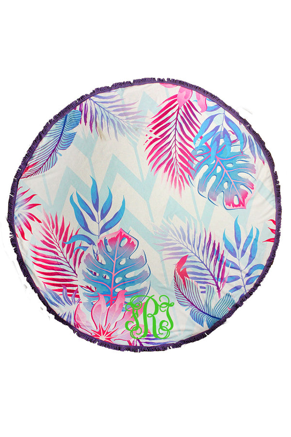 Colorful Palms Chevron Round Beach Towel