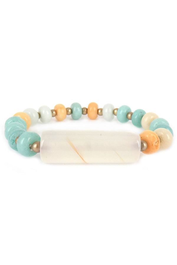 White Bar Green Stone Disk Bead Bracelet