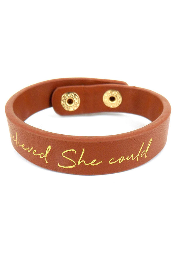 She Believed She Could Faux Leather Cuff Bracelet