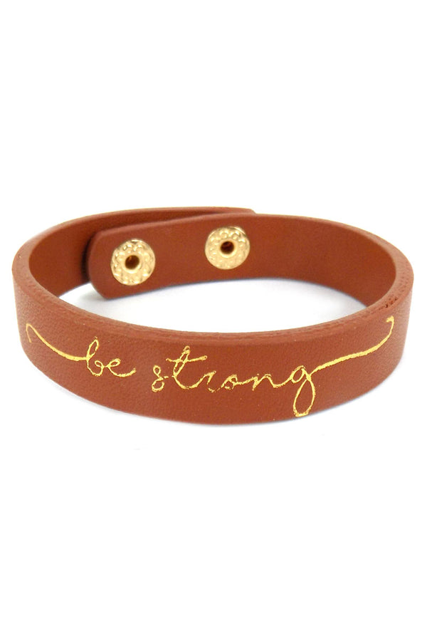 Be Strong Faux Leather Cuff Bracelet