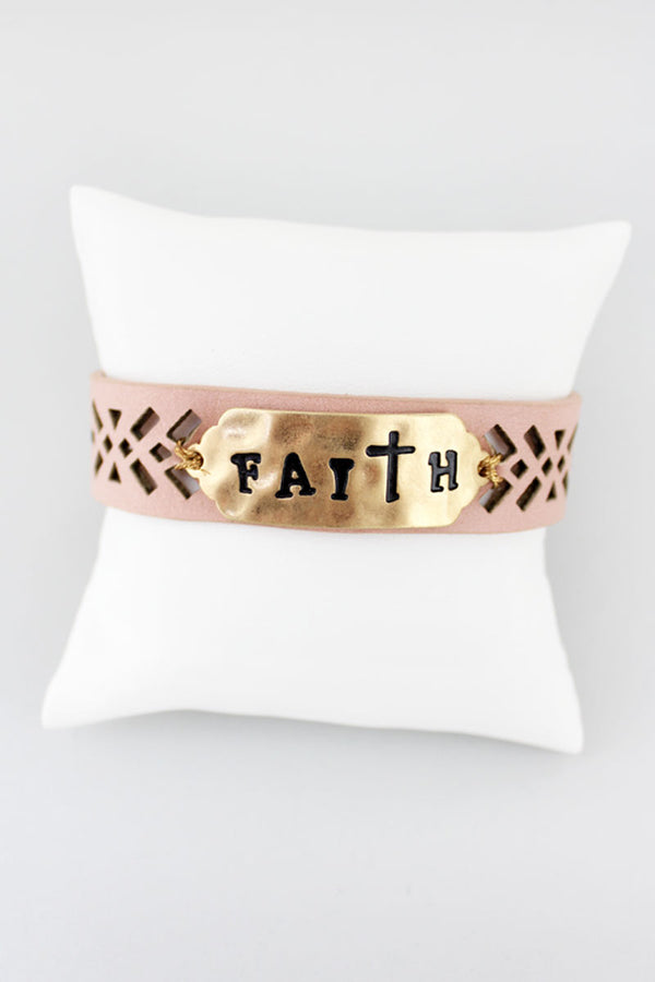 Goldtone 'Faith' Perforated Pink Faux Leather Cuff Bracelet