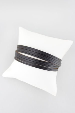 Gray Faux Leather Multi-Strand Twisted Magnetic Bracelet