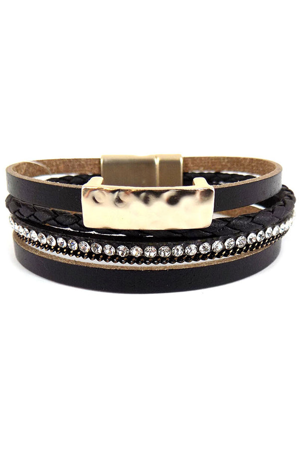 Black Hammered Goldtone Bar Multi-Strand Magnetic Bracelet