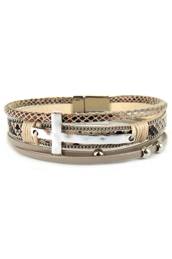 Silvertone Cross Natural Snakeskin Multi-Strand Magnetic Bracelet