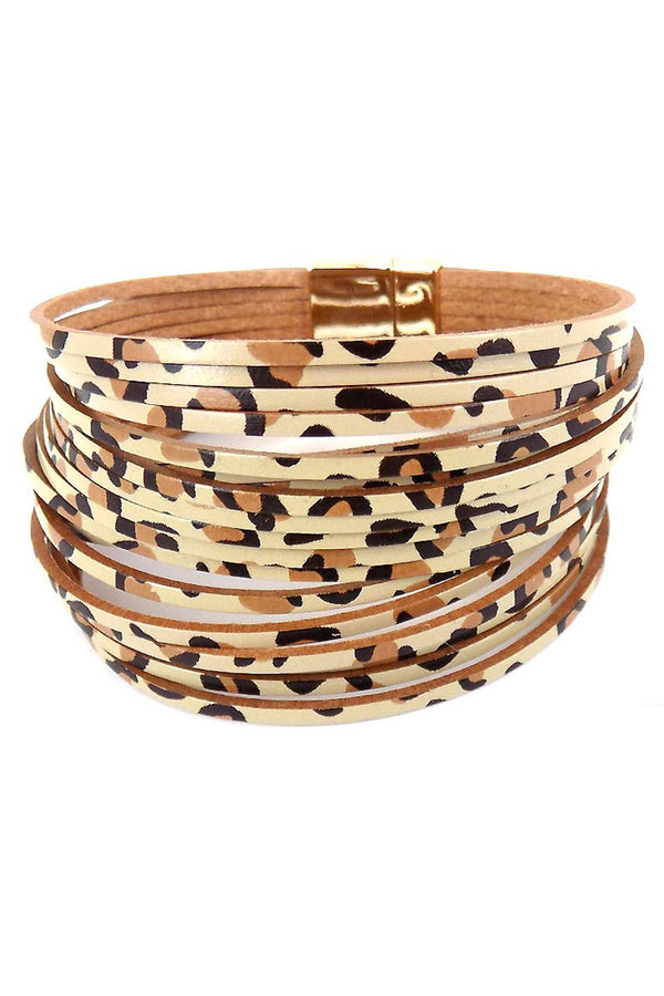Leopard Faux Leather Shredded Multi-Strand Magnetic Bracelet