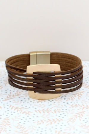 Goldtone and Brown Faux Leather Interlaced Magnetic Bracelet