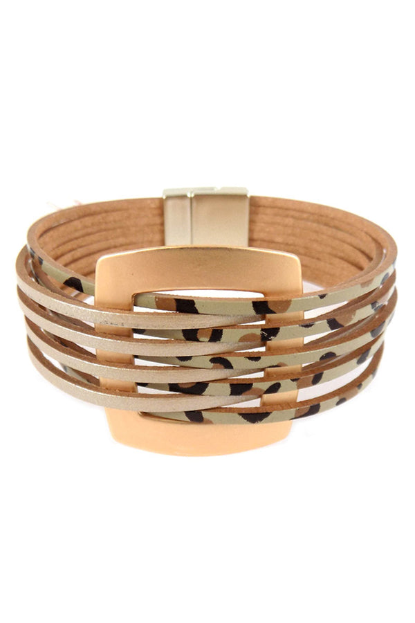 Goldtone and Leopard Faux Leather Interlaced Magnetic Bracelet