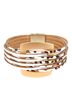 Goldtone and White Leopard Faux Leather Interlaced Magnetic Bracelet