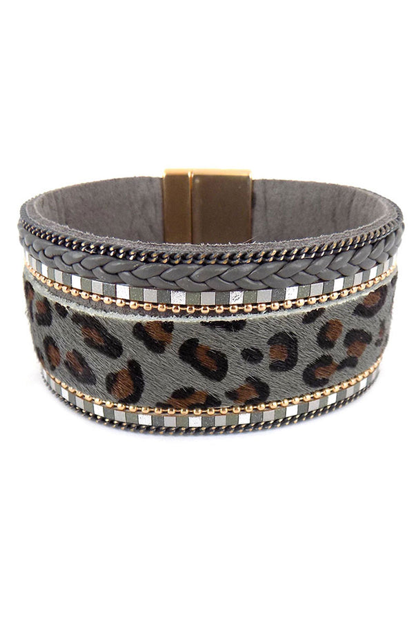 Gray Leopard and Tiled & Braided Faux Leather Magnetic Bracelet