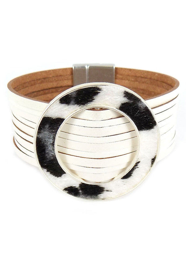 White Faux Leather White Leopard Ring Multi-Strand Magnetic Bracelet