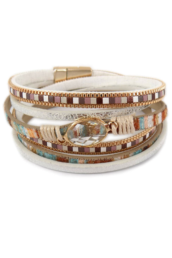 Natural And Goldtone Multi-Strand Wrap Magnetic Bracelet
