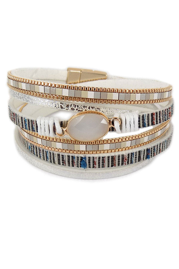 White And Goldtone Multi-Strand Wrap Magnetic Bracelet