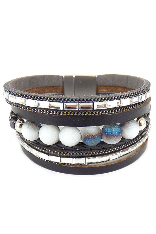 Blue and Silver Bead Gray Multi-Strand Magnetic Bracelet