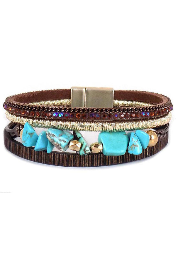 Turquoise Chip Stone Brown Multi-Strand Magnetic Bracelet