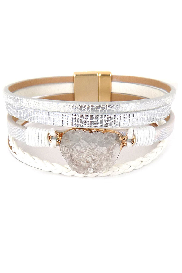 White Druzy Multi-Strand Faux Leather Magnetic Bracelet
