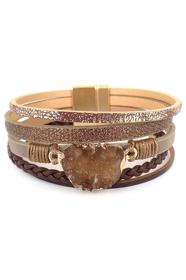 Brown Druzy Multi-Strand Faux Leather Magnetic Bracelet