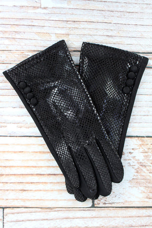One Pair Python Smart Touch Gloves, Black
