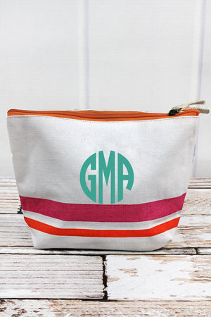 Pink & Orange Shore Stripe Cosmetic Bag