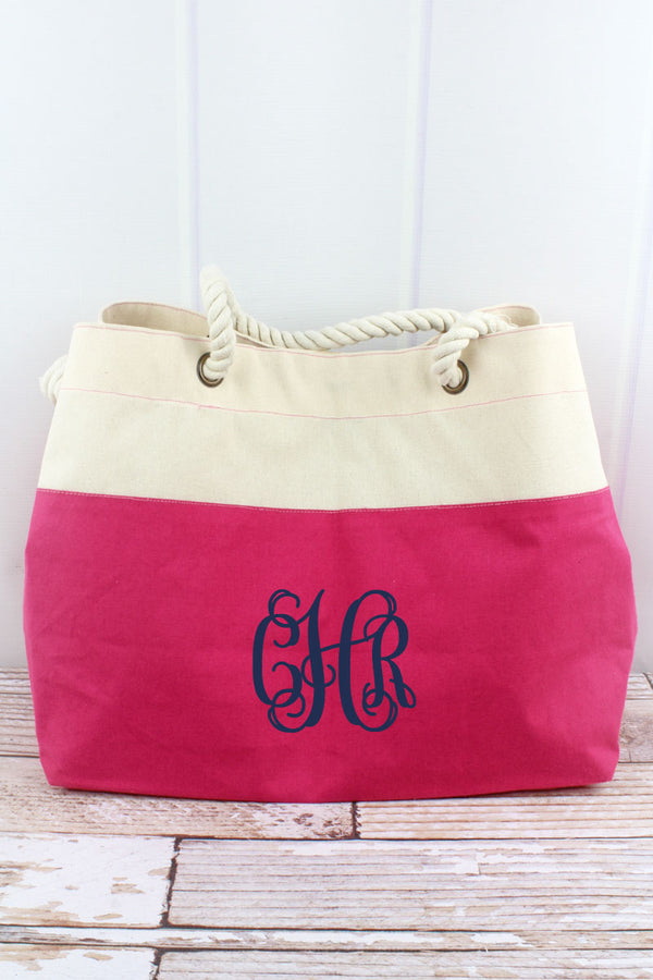 Hot Pink and Natural Colorblock Canvas Beach Tote