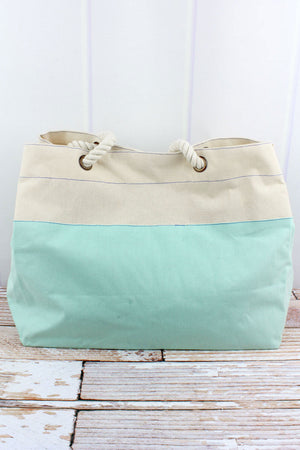 Aruba Blue and Natural Colorblock Canvas Beach Tote