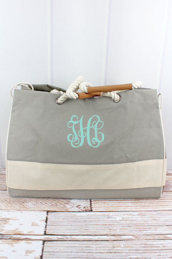 Taupe and Natural Dockside Tote
