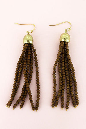 Goldtone and Dark Bronze Faceted Bead Tassel Earrings