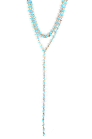 Turquoise Glass Beaded Goldtone Layered Y Necklace and Earring Set