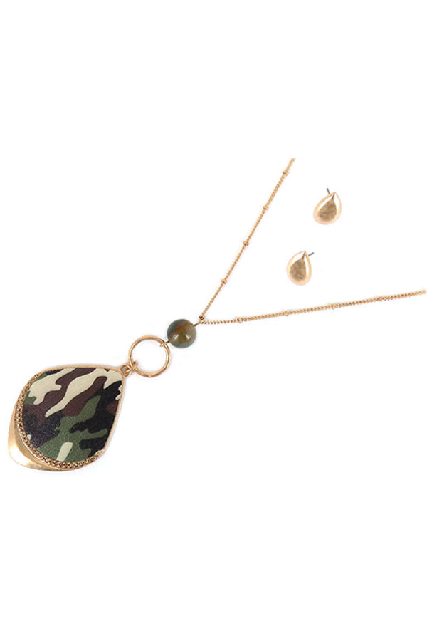 Faux Leather Camo and Goldtone Teardrop Necklace and Earring Set