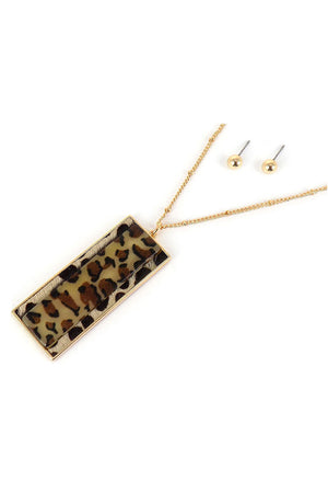 Leopard Goldtone Bar Pendant Necklace and Earring Set