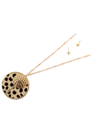 Cheetah and Goldtone Split Disk Pendant Necklace and Earring Set