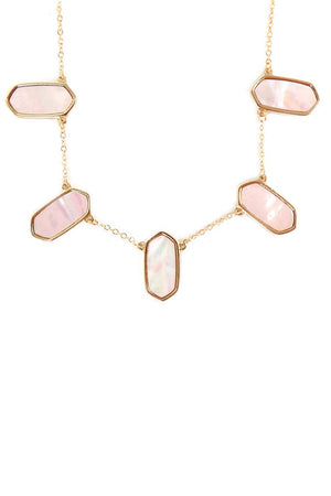 Pink Shell Hexagon Charm Goldtone Necklace and Earring Set