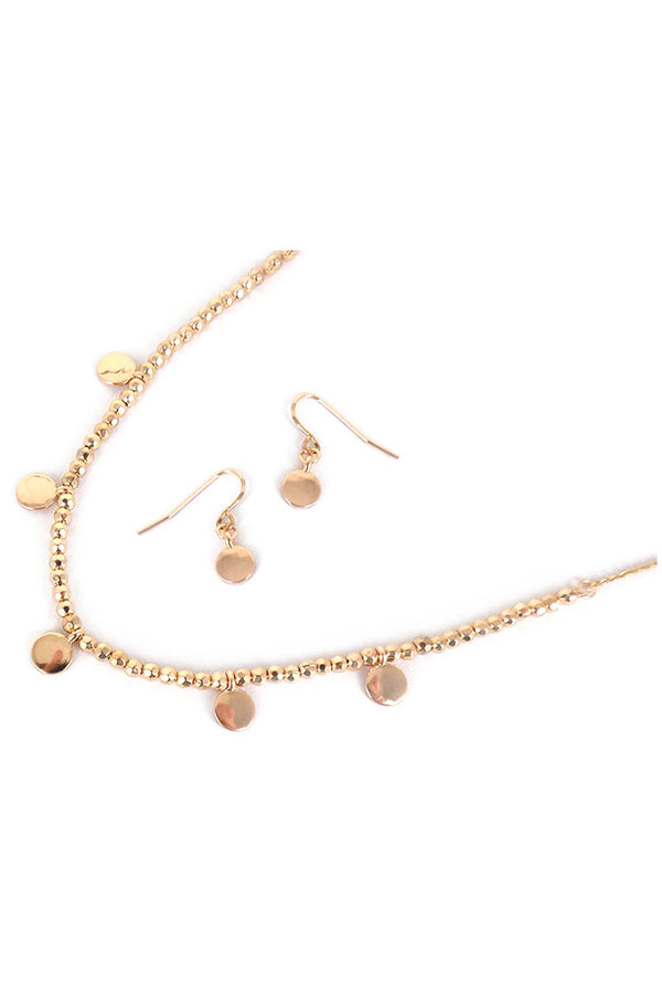 Goldtone Disk Charm Beaded Choker and Earring Set