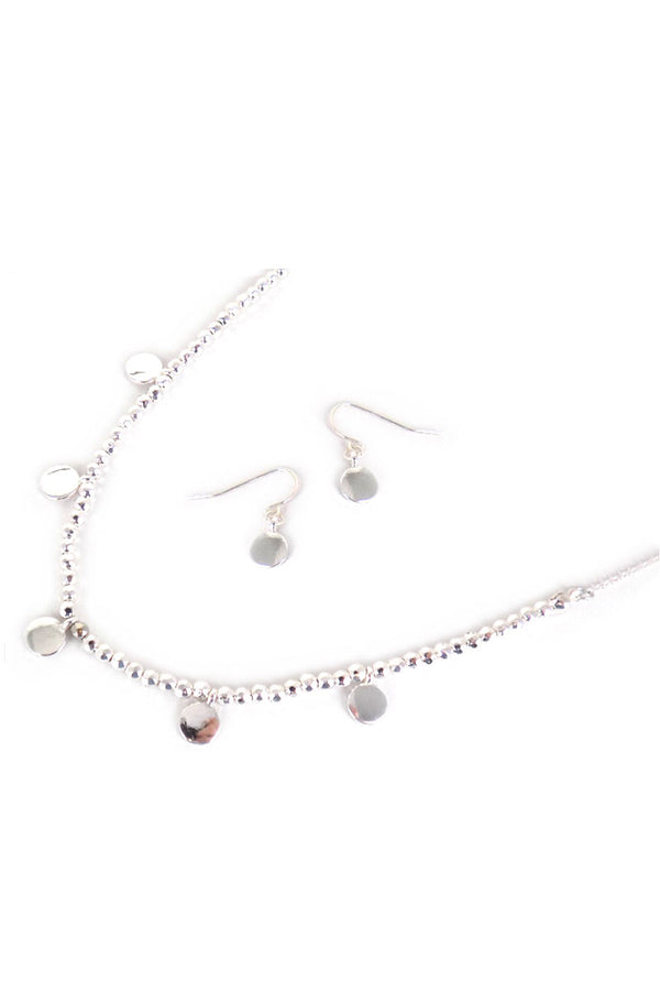 Silvertone Disk Charm Beaded Choker and Earring Set