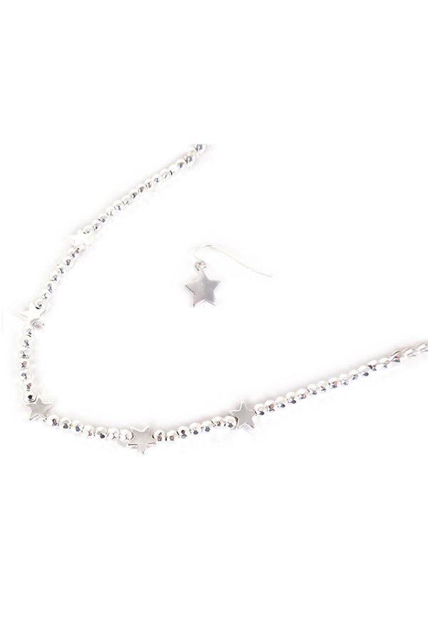 Silvertone Star Charm Beaded Choker and Earring Set
