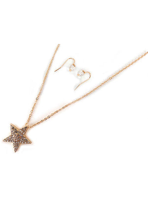 Crystal Goldtone Star Necklace and Earring Set