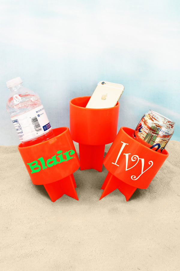 Tangerine Spiker Beach Beverage Holder