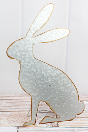 16 x 10 Galvanized Metal Tabletop Bunny
