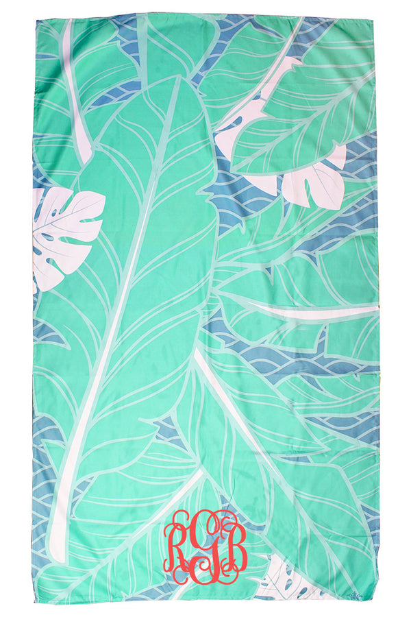 Mint And Lagoon Island Palm Giant Microfiber Beach Towel