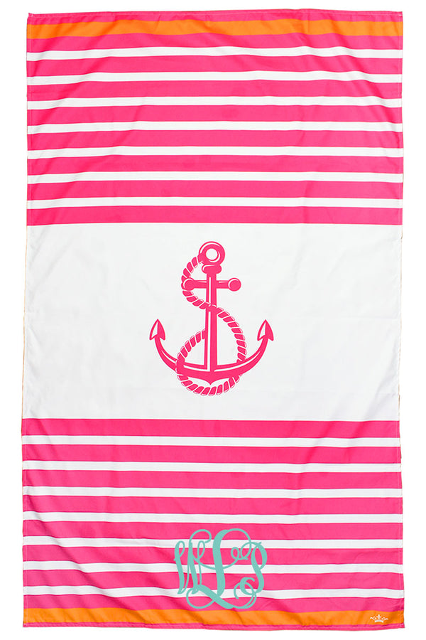 Pink And Orange Anchor  Stripe Giant Microfiber Beach Towel