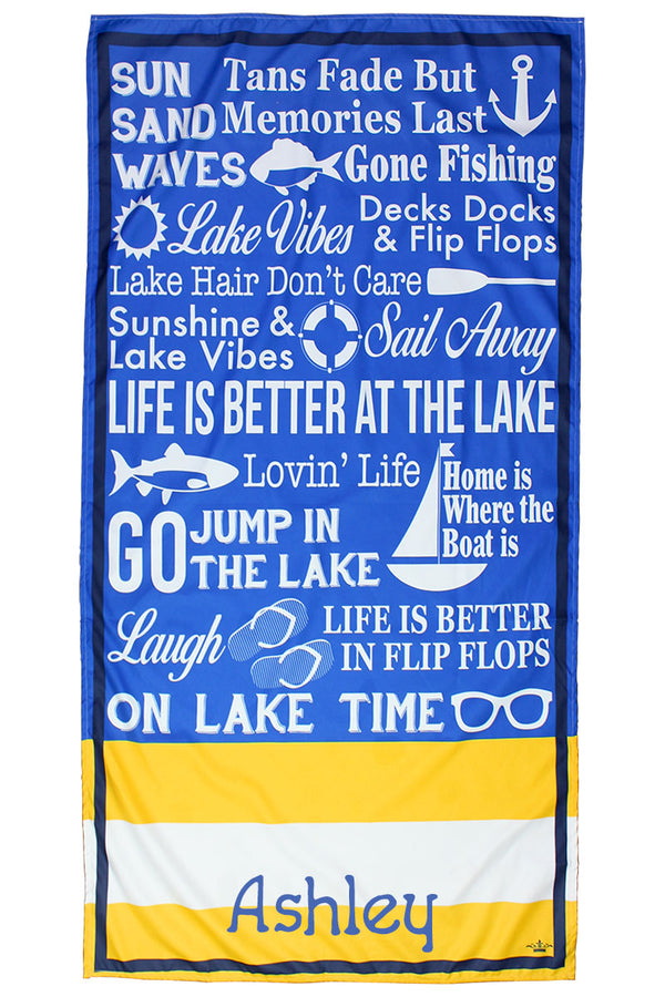 Royal And Yellow Lanier Microfiber Beach Towel